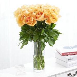 【送料無料】花瓶フラワー・フラワーベース シリンダー(クリア) オレンジバラ30本お祝い お花 生花 薔薇 バラ ばら ローズ 花瓶 フラワーベース フラワーギフト 贈答 プレゼント 贈り