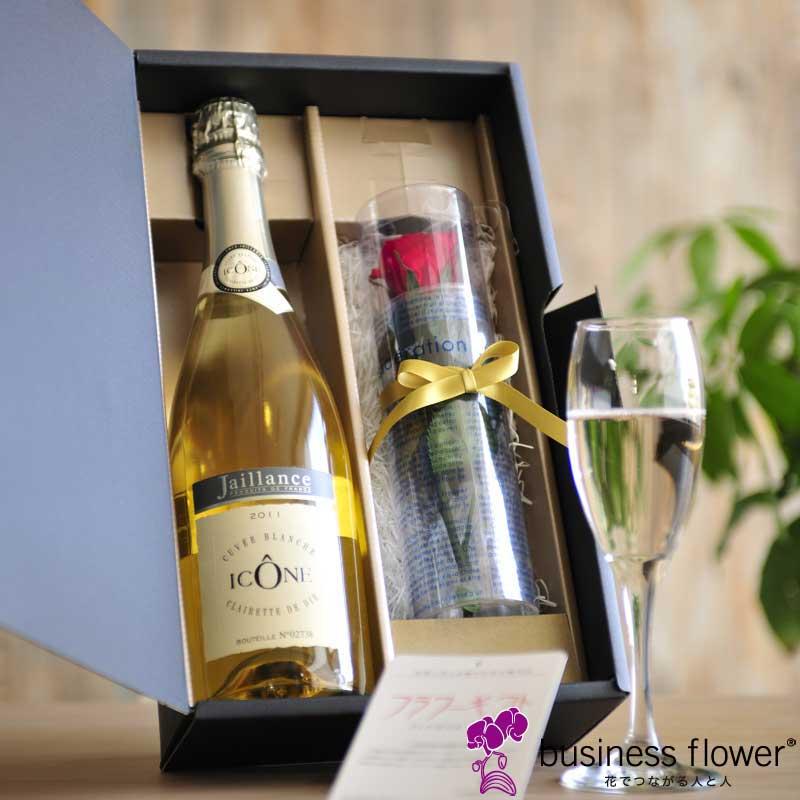 スパークリングワインとプリザーブドフラワー