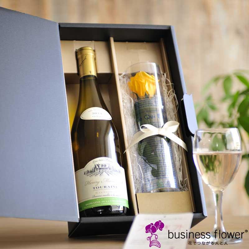 オーガニックワインとプリザーブドフラワー(白ワイン)