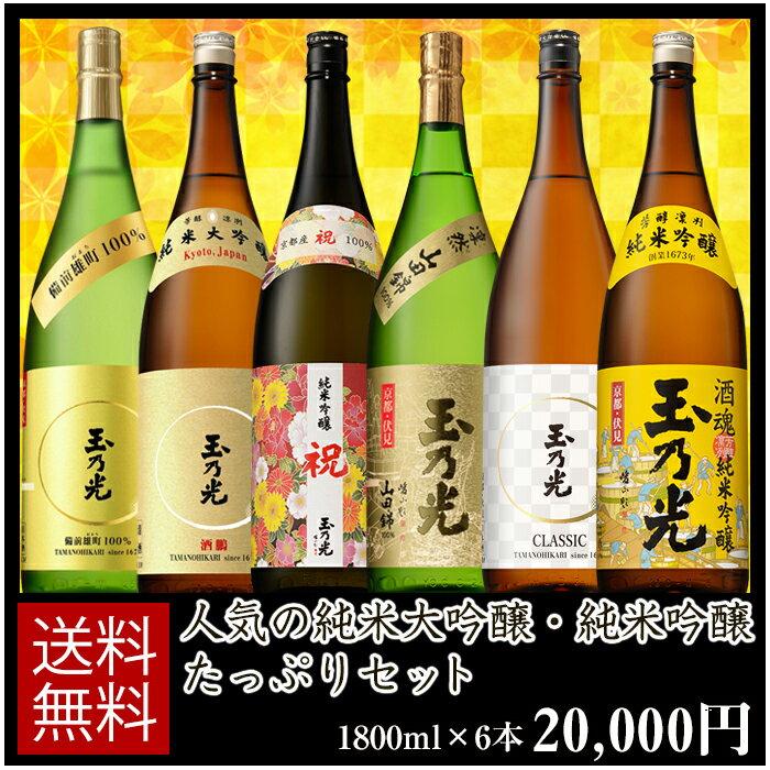 日本酒 純米大吟醸・純米吟醸たっぷりセット 1800ml×6本 BTNY-6B 誕生日ギフト贈り物パーティーお歳暮正月帰省京都土産