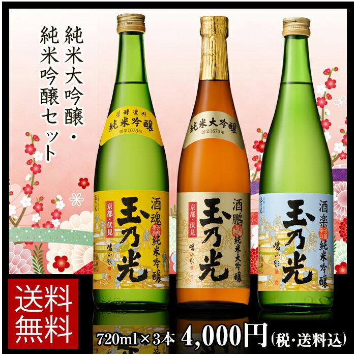日本酒 純米大吟醸・純米吟醸720ml×3本セット TS-3B 誕生日ギフト贈り物パーティーお歳暮正月帰省京都土産