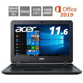 Acer エイサー ノートパソコン Aspire 1 A111-31-A14PA/F 11.6型/ Celeron/メモリ4GB/eMMC 64GB/ Windows 10/ Office付き/ ブラック 【開封・未使用品】