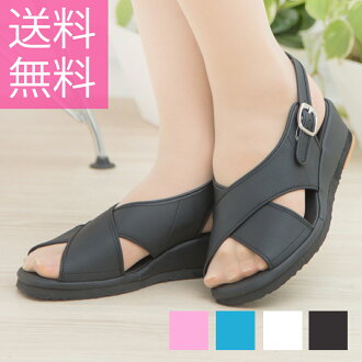 The size nurse goods that I repent for crossline sandals black and white Lady's nurse sandals nurse fatigue caused by office nurse shoes office sandals not to be tired from, and silent heel thick-soled big size is small