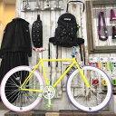 1/18迄 送料無料 ピストバイク 完成車 FUNイエロー フレーム(530mm) ピスト シングルスピード[自転車][BMX][ピスト][バイク][ピスト…