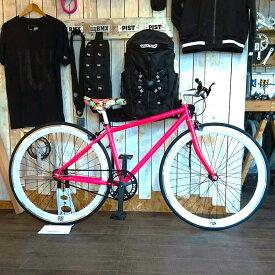 FUN ANGUS 700C ピストバイク 完成車 ネオンピンク ストリートフレーム(400mm)Hendrix(ヘンドリクス)クランク カスタムバイク スレッドステムピスト トラックレーサーライダーズカフェ