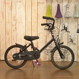 ノーパンク自転車 FUN EASY ビーチクルーザー 16インチ 完成車 ※補助輪付きマットブラック キッズ 子供用 おススメ ノーパンクタイヤ ライダーズカフェ適正身長110cm以上