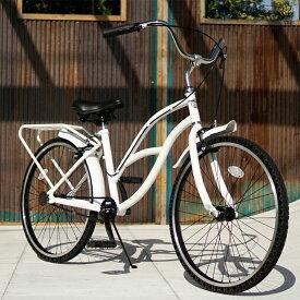 パンクしない自転車 FUN EASY ビーチクルーザー 24インチ 完成車マットホワイト ノーパンク クルーザー おススメ ビーチクルーザー24インチ ノーパンクタイヤ ライダースカフェ