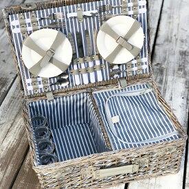 SUBURBANピクニックバスケットセット 4人用ピクニック アウトドア キャンプ ハイキング ランチボックス お出かけ お弁当 サンドイッチ BBQ 自然 北欧 アンティーク 大容量 ハンドメイド 手作り 大容量 ワイドサイズ