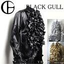 【BLACK GULL】メンズ ステージ衣装 コスチュームロック バンド衣装 男性【品番/デザイン】Y-0204サテン フリルシャツ…