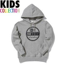 ニューエラ キッズ NEW ERA Kid's Sweat Pullover Hoodie Visor Sticker Logo スウェットパーカー プルオーバー 子供服 11165688 グレー×ブラックプリント