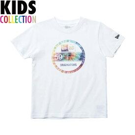 ニューエラ Tシャツ キッズ NEW ERA Kid's コットン Tシャツ 子供用 男の子 女の子 誕生日 プレゼント カラータイダイ バイザーステッカー ホワイト 130-160サイズ 11901425