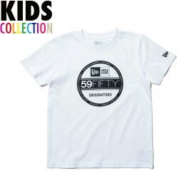 ニューエラ Tシャツ キッズ NEW ERA Kid's コットン Tシャツ 子供用 男の子 女の子 誕生日 プレゼント バイザーステッカー ホワイト/ブラック 130-160サイズ 11901431