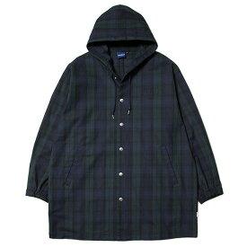 インターブリード コート メンズ レディース 送料無料 INTERBREED Hooded Daily Coat フード付きコート チェック柄 ストリート ブランド ブラックウォッチ M-XXL IB19AW-24
