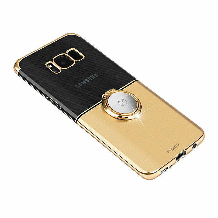 Samsung Galaxy S8 クリアケース/カバー シンプル メッキ 片手持ち スマホリング付き かっこいい サムスン ギャラクシー S8 透明ハードケース/カバー おすすめ おしゃれ スマホケース/カバー SC-02J docomo SCV36 au