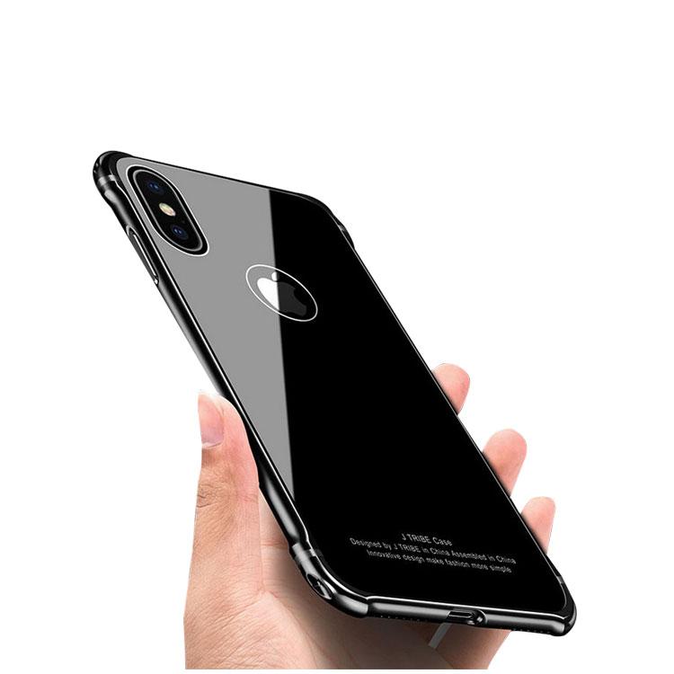 Apple iPhoneX ケース アルミ バンパー 背面強化ガラス 背面パネル付き かっこいい アイフォンX アルミサイドバンパー アップル おすすめ おしゃれ スマホケース