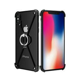 Apple iPhone X アルミフレーム 4コーナーガード リングブラケット付き クロスフレーム かっこいい アイフォンX メタルケース/カバー スマホのアルミフレームー製耐衝撃プロテクター スマホリング おすすめ おしゃれ スマホケース/カバー