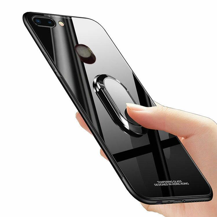 OPPO r15 pro ケース カバー TPU 背面強化ガラス 背面パネル付き リングブラケット付き スマホリング付き オッポ r15 pro シンプル ハードケース おすすめ おしゃれ アンドロイド スマフォ スマホ スマートフォンケース/カバー