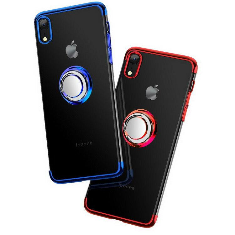 Apple iPhone XR クリアケース/カバー TPU 耐衝撃 片手持ち スマホリング付き カバー シンプル スリム アイフォンXRメッキ 透明 ソフトケース/カバー おすすめ おしゃれ アップル スマフォ スマホ スマートフォンケース/カバー