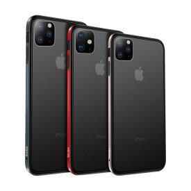 【強化ガラス付き】Apple iPhone11 / 11 Pro / 11 Pro Max ケース/カバー アルミ バンパー クリア 半透明 TPU 背面パネル付き かっこいい アルミサイドバンパー おしゃれ スマフォ スマホ スマートフォンケース/カバー