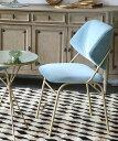 José Leite de Castro ダイニングアームチェア・レヴィン・ブルーベルベット/ベロア生地 モダンデザイン 椅子 いす ポルトガル 高級家具 デザイナーズチェア 水色 幾何学模