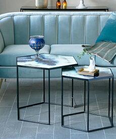 NOTRE MONDE ヘキサゴンテーブルセット・コバルトミスト/ リビングテーブル サイドテーブル 北欧 アンティーク 六角形 ヘキサゴン ネストテーブル 2段 フレンチ モダン インテリア