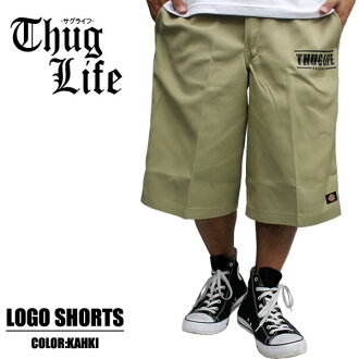 THUG LIFE and Thug Life shorts THUG ANGULAR SHAPE SHORTS and khaki Dickies... デッキーズ... Dickies... ワークショーツ... shorts... Setup... top and bottom set... custom... LA. 2Pac... popular... new