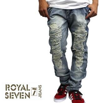 SEVEN ROYAL JIEANS Royal seven jeans crash processing denim slim fit damaged denim vintage processing casual street crash processing wrinkles machining slender
