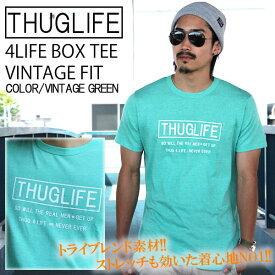 THUGLIFE サグライフ 半袖Tシャツ 4LIFE BOX TEE VINTAGE FIT ヴィンテージグリーン LA ストリート ワーク ミリタリー ヴィンテージ ストレッチ カラー 杢 メンズ ファッション