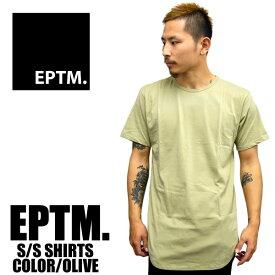 EPTM エピトミ 半袖Tシャツ ロング丈 無地 ラウンド型 メンズ ヴィンテージオリーブ薄手 ロング丈 カニエウエスト着用 アメリカンユース メンズファッション インナー あす楽