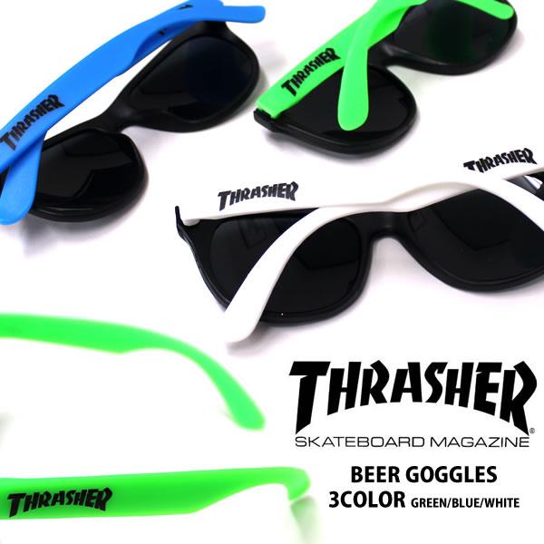 THRASHER/スラッシャートイサングラス BEER GOGGLESビアー ゴーグル サングラス メガネ 伊達メガネ パーティーグッズ トイサングラス ウェイファーラ— 青 白 緑