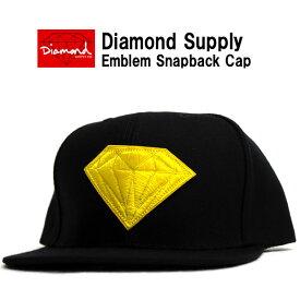DIAMOND SUPPLY ダイヤモンド サプライ スナップバックキャップ ブラック×イエロースナップバック 刺繍 メンズ 帽子 キャップ ハット スケート スノー ダイアモンド