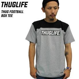THUGLIFE サグライフ 半袖Tシャツ THUG FOOTBALL BOX TEE グレー×ブラックボックスロゴ LA ストリート ワーク ミリタリー ヴィンテージ 切り替え カラー メンズ ファッション