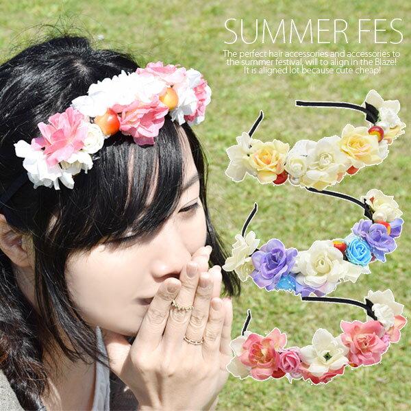 カチューシャ フラワー BLAZE ヘアアクセサリー 造花 花 髪飾り イベント 仮装 メール便 送料無料