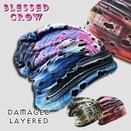 柄ビーニーニットキャップメンズレディースニット帽ブランドBlessedCrow