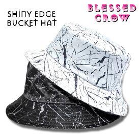 ShinyEdgeバケットハット メンズ レディース 帽子 ハット モノトーン 柄 黒 白 UV