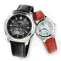 ペアウォッチカシオウェブセプターソーラー電波時計腕時計ペアWVA-M630L-1A2JF-LWQ-10LJ-4A2JF40,0レザー本革バンド