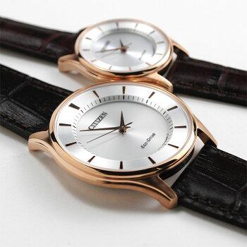 シチズンエコドライブペアウォッチソーラーピンクゴールドレザーバンドメンズ&レディース腕時計BJ6482-04A-EM0402-05A46,0正規品[あす楽]【腕時計カップルペアウォッチブランドギフトペア腕時計】