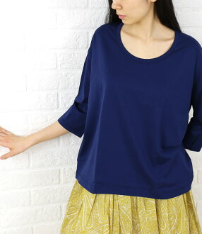 Cotton seven minutes sleeve round neckline wide cut-and-sew, 2930-Q82-0321401
