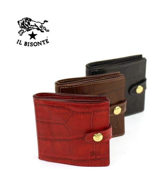 【イルビゾンテ IL BISONTE】型押しレザー 二つ折り 財布・5402305840-0061702【メンズ】【レディース】【1F】