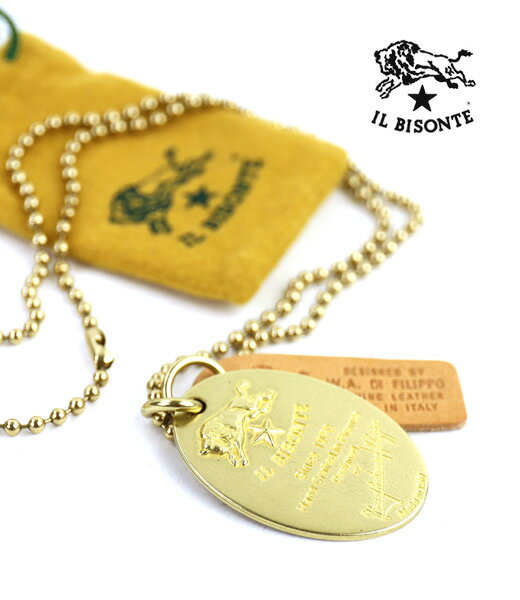 【イルビゾンテ IL BISONTE】真鍮 プレート ネックレス・5412300497-0061802【メンズ】【レディース】【1F】
