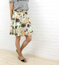 【ディーフレイバー Dee Flavor】コットン 膝丈 ボタニカルプリント ギャザースカート・440024-0501501【レディース】【DEAL】