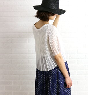 Polyester cotton Giza Boyle off shoulder pleated blouse, 11-01-62-01403-0171601