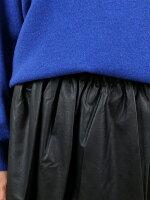 MICHELBEAUDOUIN(ミシェルボードウイン)レーヨンポリエステルフェイクレザーギャザースカート・MB-B7603