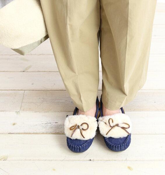 【エミュ EMU】シープスキン ムートン デニム モカシンシューズ Amity Cuff Denim・W11644-1541702【レディース】【◎】