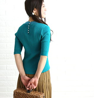 Cotton blend rib V neck reshuffling short sleeves knit so pullover, E92207-0041801