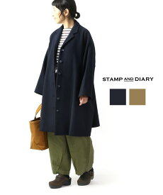 【スタンプアンドダイアリー STAMP AND DIARY】アンゴラ混 ショールカラー Aラインコート・SD93AW74-3611902【レディース】