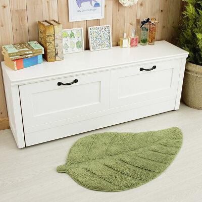 玄関マット綿100%風水かわいいおしゃれ洗える北欧葉っぱのかたちマットHB501050×80cmグリーン緑天然素材室内脱衣所可愛いモダン