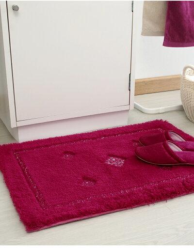 洗面所マット玄関マットラグ室内ベルベティマット50×70cmレッドベージュ赤ワインボルドー洗えるオーナメント模様クリスタル滑り止めすべり止め