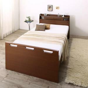 お客様組立 寝返りができる棚・コンセント・ライト付き幅広電動介護ベッド ウレタンマットレス付き 2モーター セミダブル