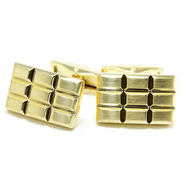 【メール便可10】板チョコ ゴールドカラー[シンプル スタンダード] カフスボタン カフリンクス cufflinks カフス メンズ アクセサリー